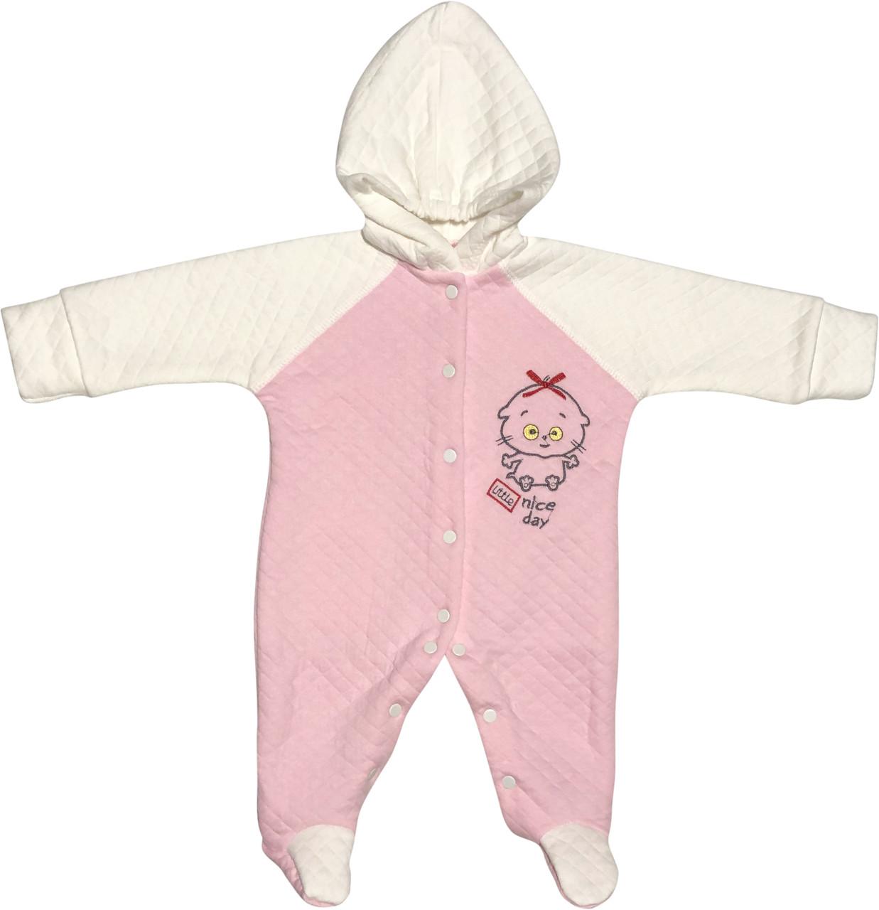 Дитячий чоловічок ріст 56 0-2 міс капітон рожевий на дівчинку сліп з капюшоном для новонароджених