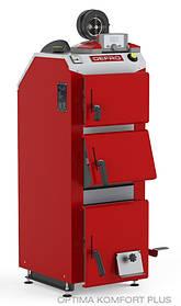Котел твердотопливный DEFRO Optima Komfort PLUS (с автоматикой) 15 кВт. красно-серый
