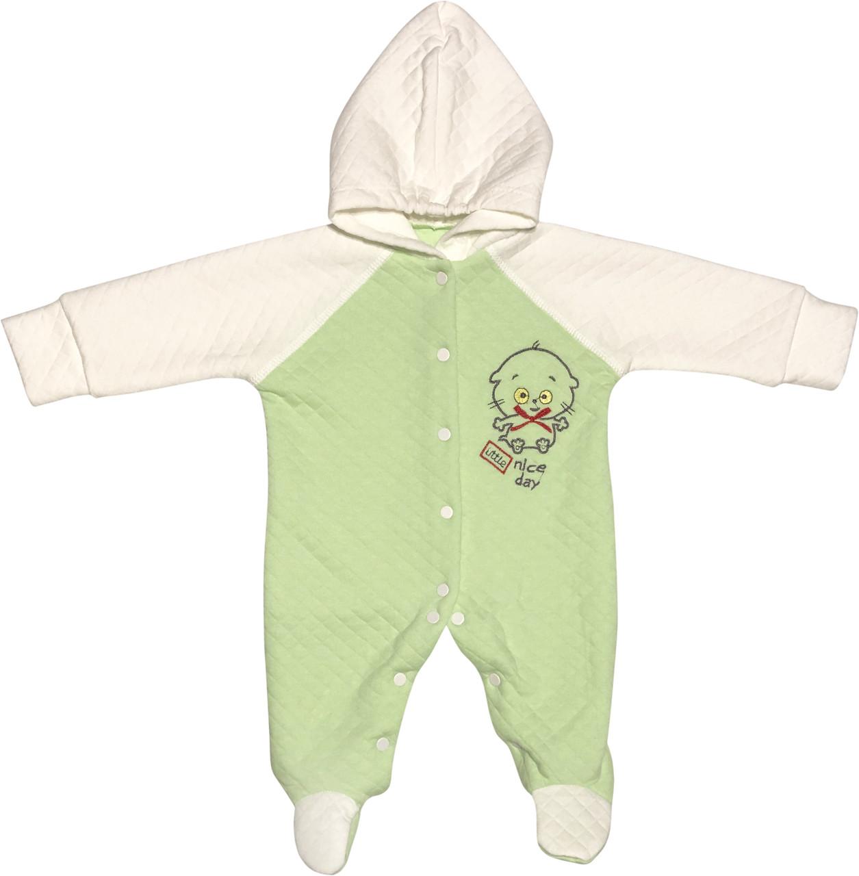 Детский человечек рост 56 0-2 мес трикотажный капитон салатовый на мальчика девочку слип с капюшоном для новорожденных малышей С006