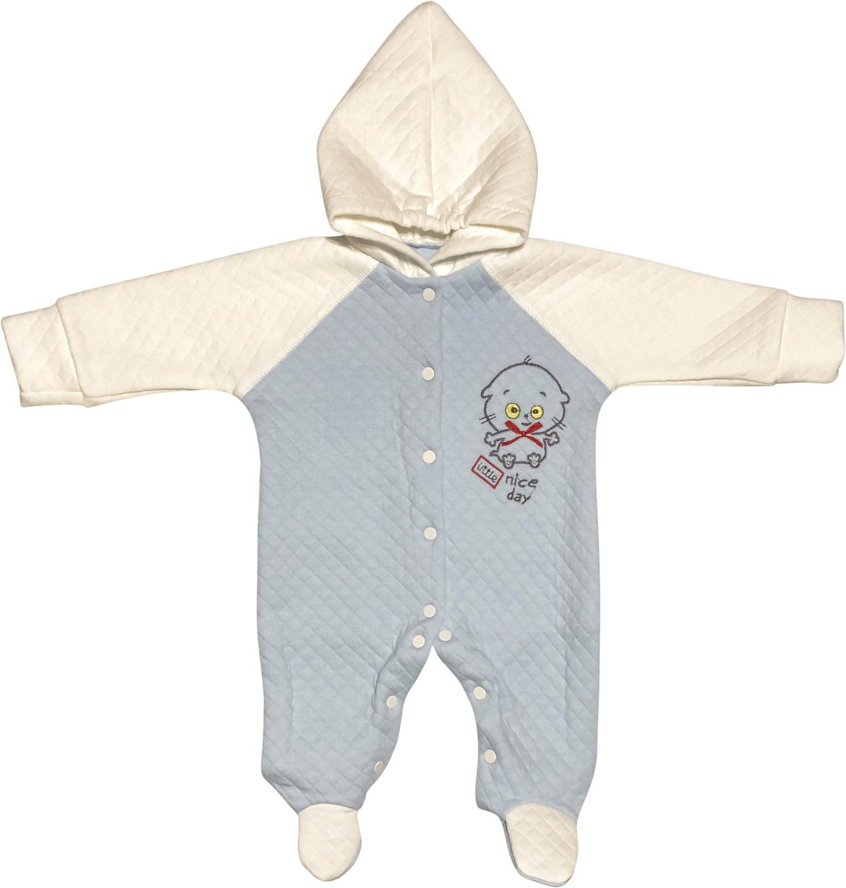 Детский человечек рост 62 2-3 мес трикотажный капитон голубой на мальчика слип с капюшоном для новорожденных малышей А006