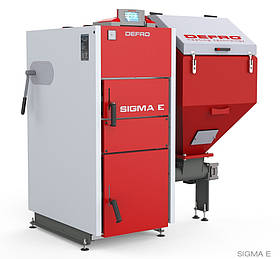 Котел твердотопливный DEFRO Sigma E 20 кВт. красно-серый