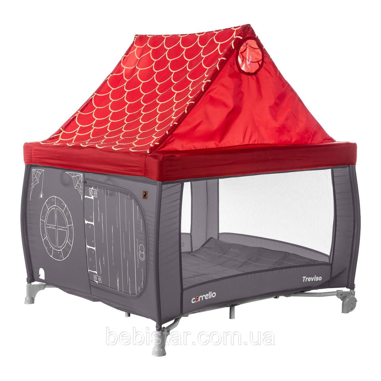 Детский манеж темно-серый съёмная крыша с кольцами и сумкой переноской CARRELLO Treviso CRL-11603 Magnet Grey