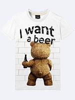 Мужская  Футболка I want a beer