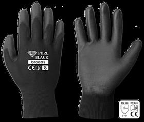 Перчатки защитные PURE BLACK полиуретан, размер 8, RWPBC8