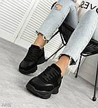 Женские черные кроссовки из натуральной кожи и замши, фото 2
