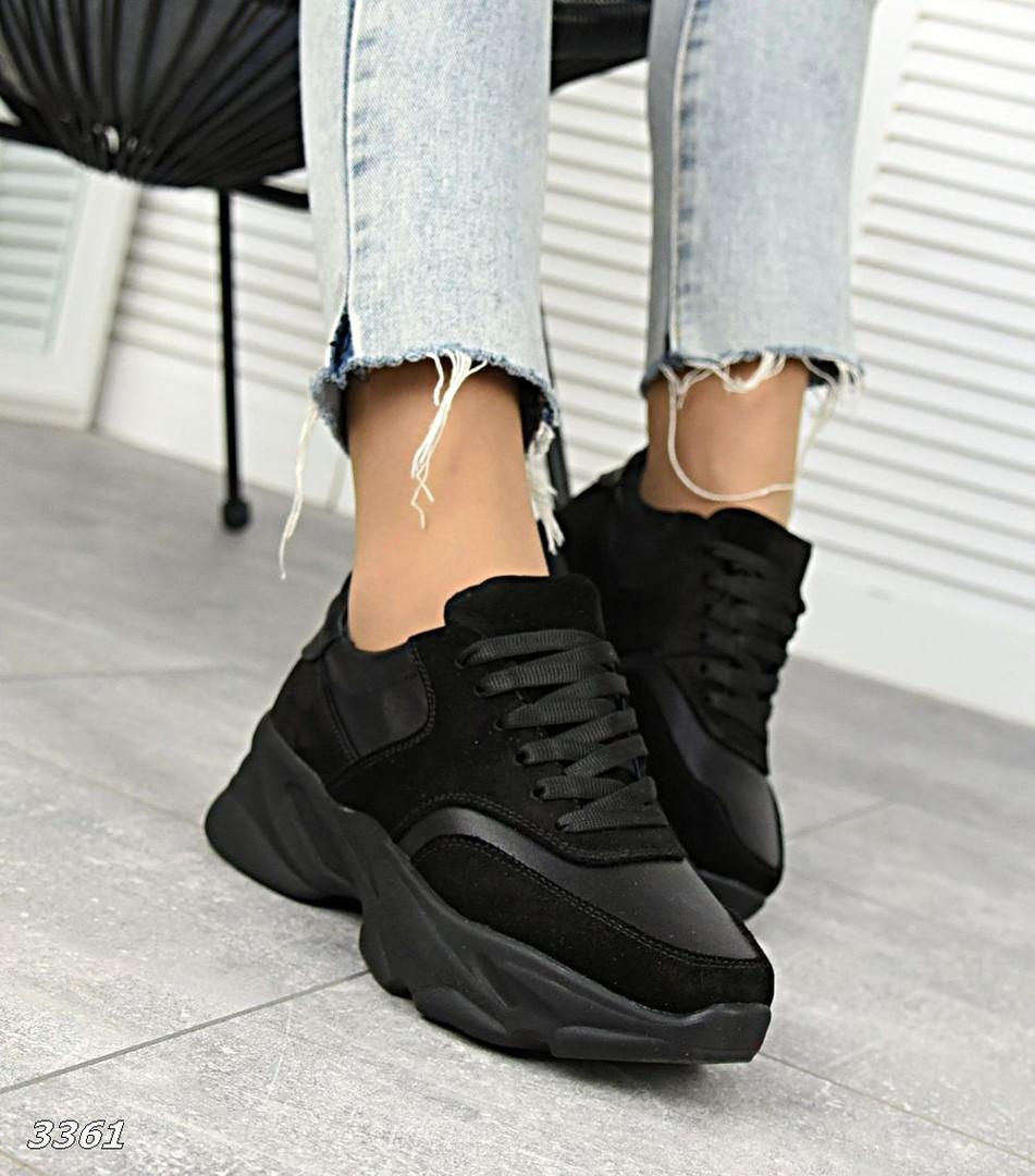 Женские черные кроссовки из натуральной кожи и замши