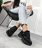 Женские черные кроссовки из натуральной кожи и замши, фото 3
