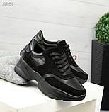 Женские черные кроссовки из натуральной кожи и замши, фото 4