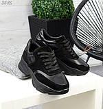 Женские черные кроссовки из натуральной кожи и замши, фото 6