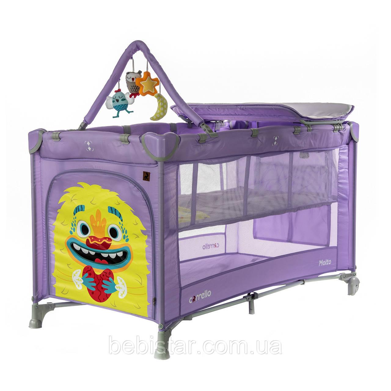 Детский манеж манеж-кровать фиолетовый Carrello Molto с двойным дном пеленальным столиком сумкой колесами