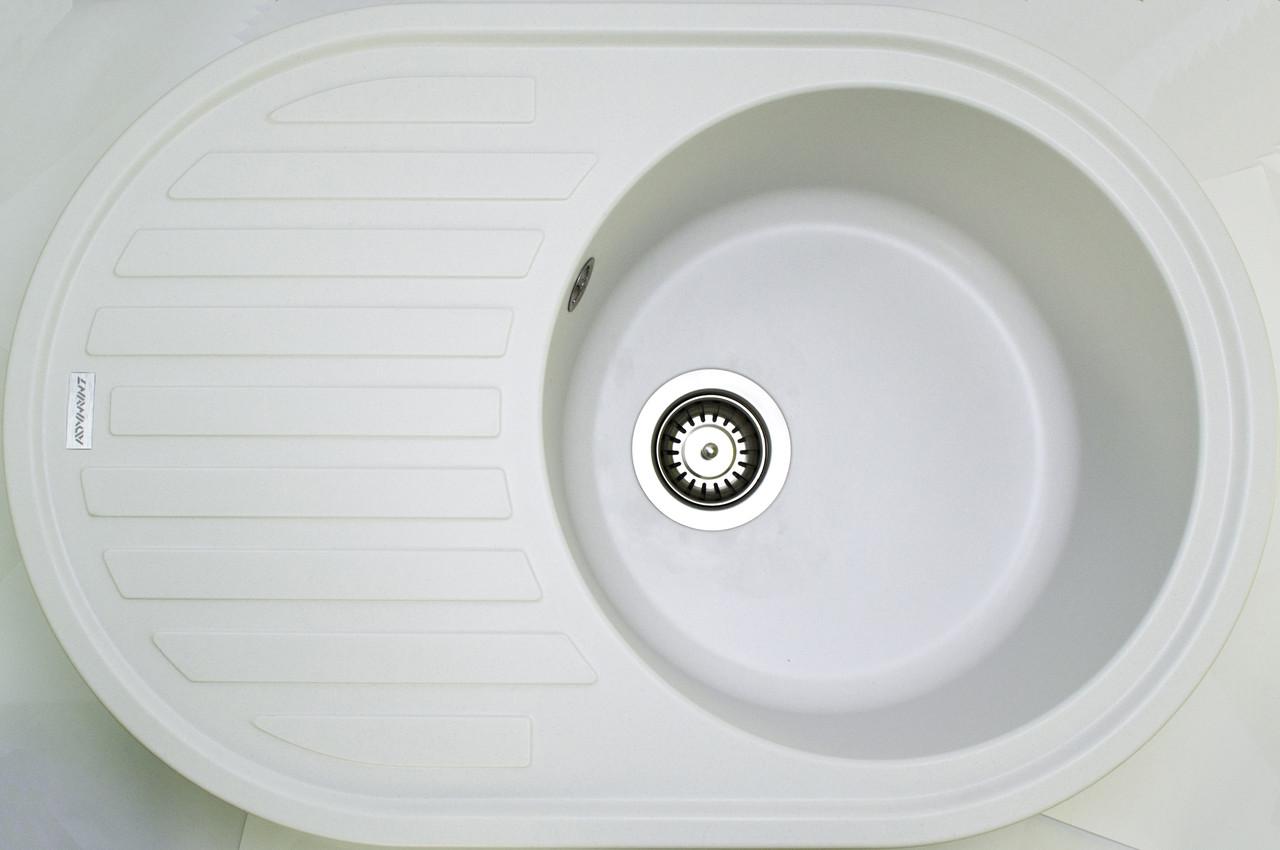 Гранитная кухонная мойка Adamant ELLIPSIS БЕЛЫЙ-01