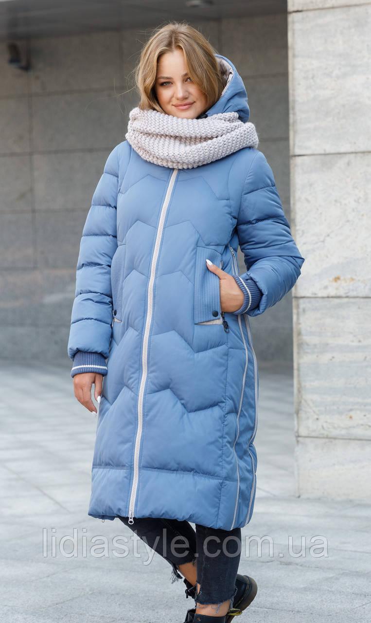 Женский пуховик с шарфом голубой