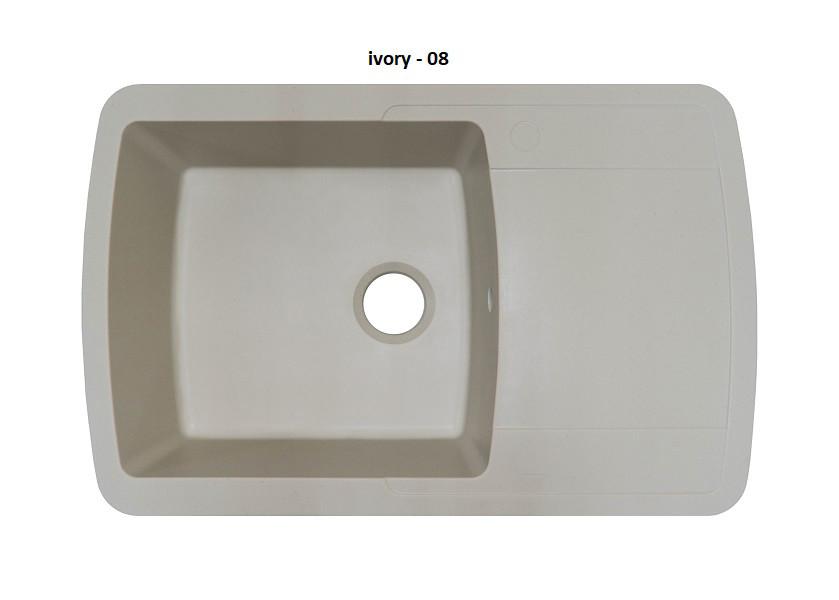 Гранитная кухонная мойка Adamant OPTIMAX IVORY-08