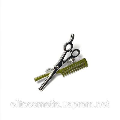 Брошь металлическая: ножницы и расчёска