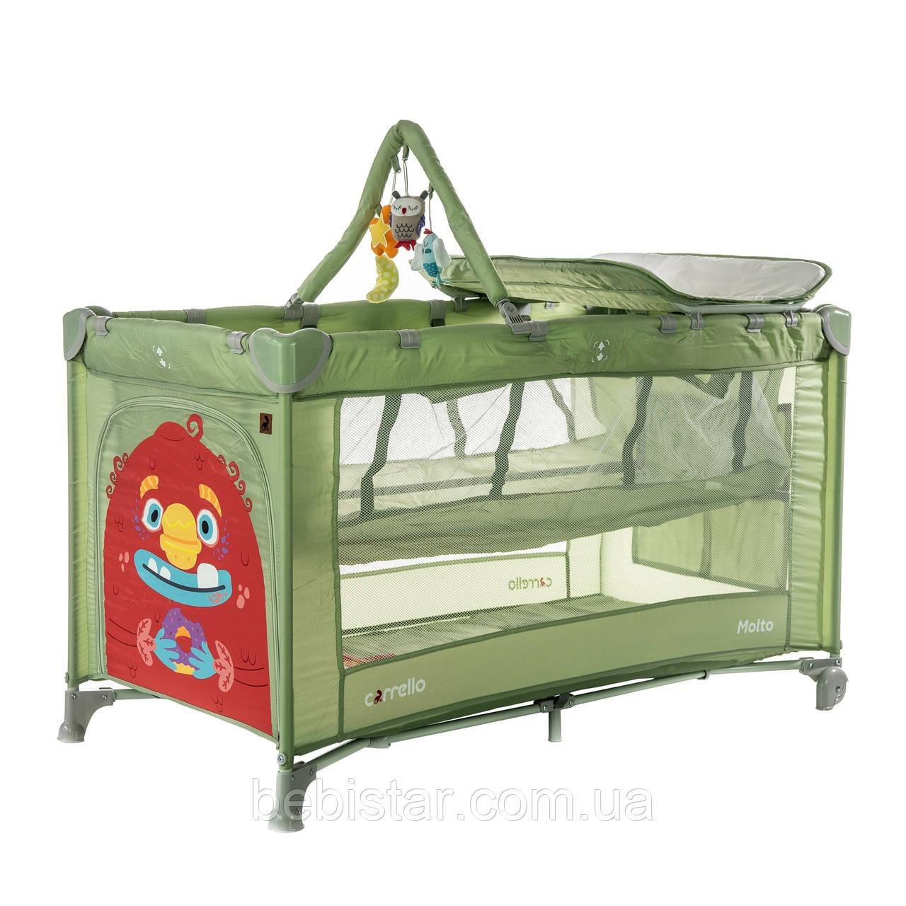 Детский манеж манеж-кровать зеленый Carrello Molto с двойным дном пеленальным столиком сумкой колесами
