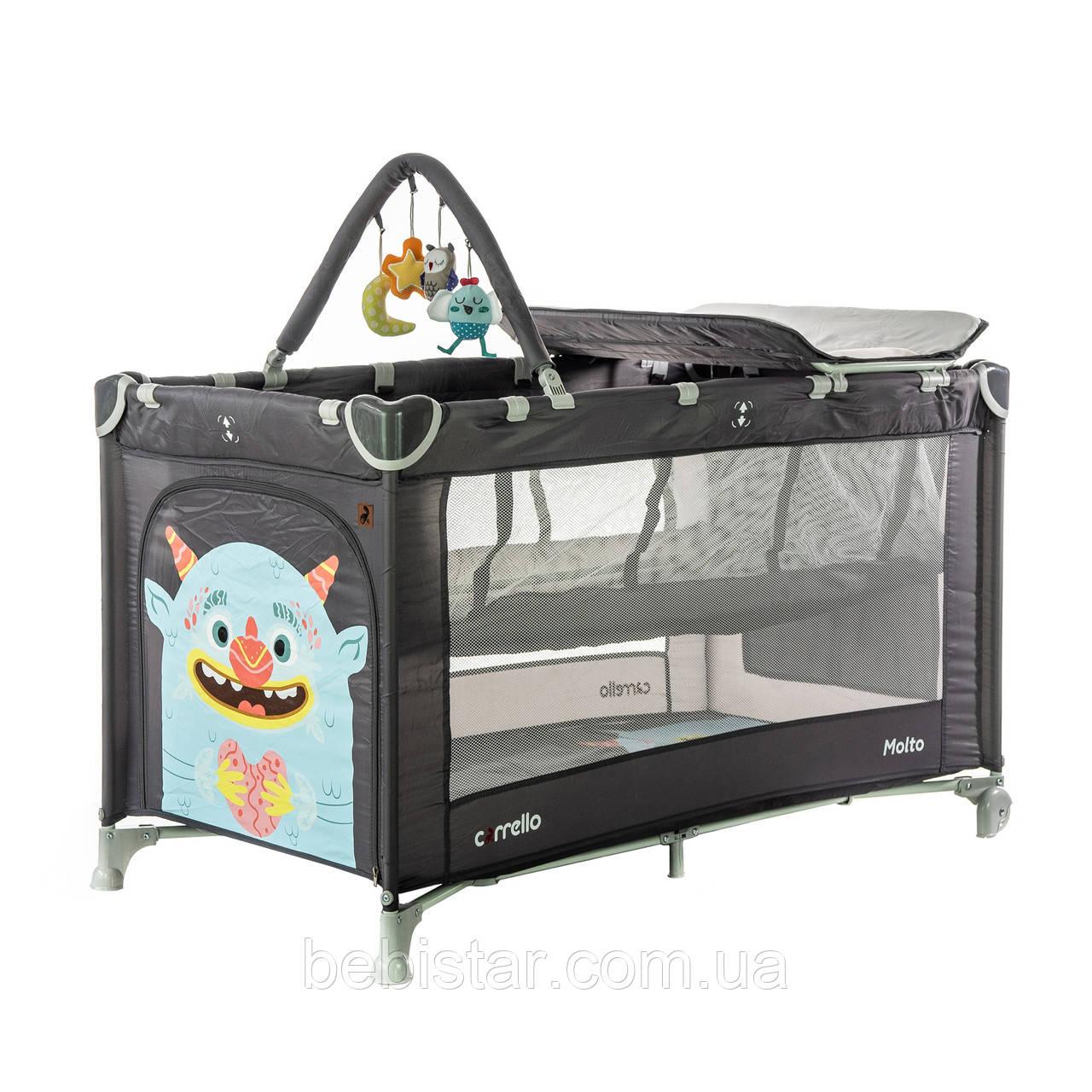 Детский манеж манеж-кровать темно-серый Carrello Molto с двойным дном пеленальным столиком сумкой колесами