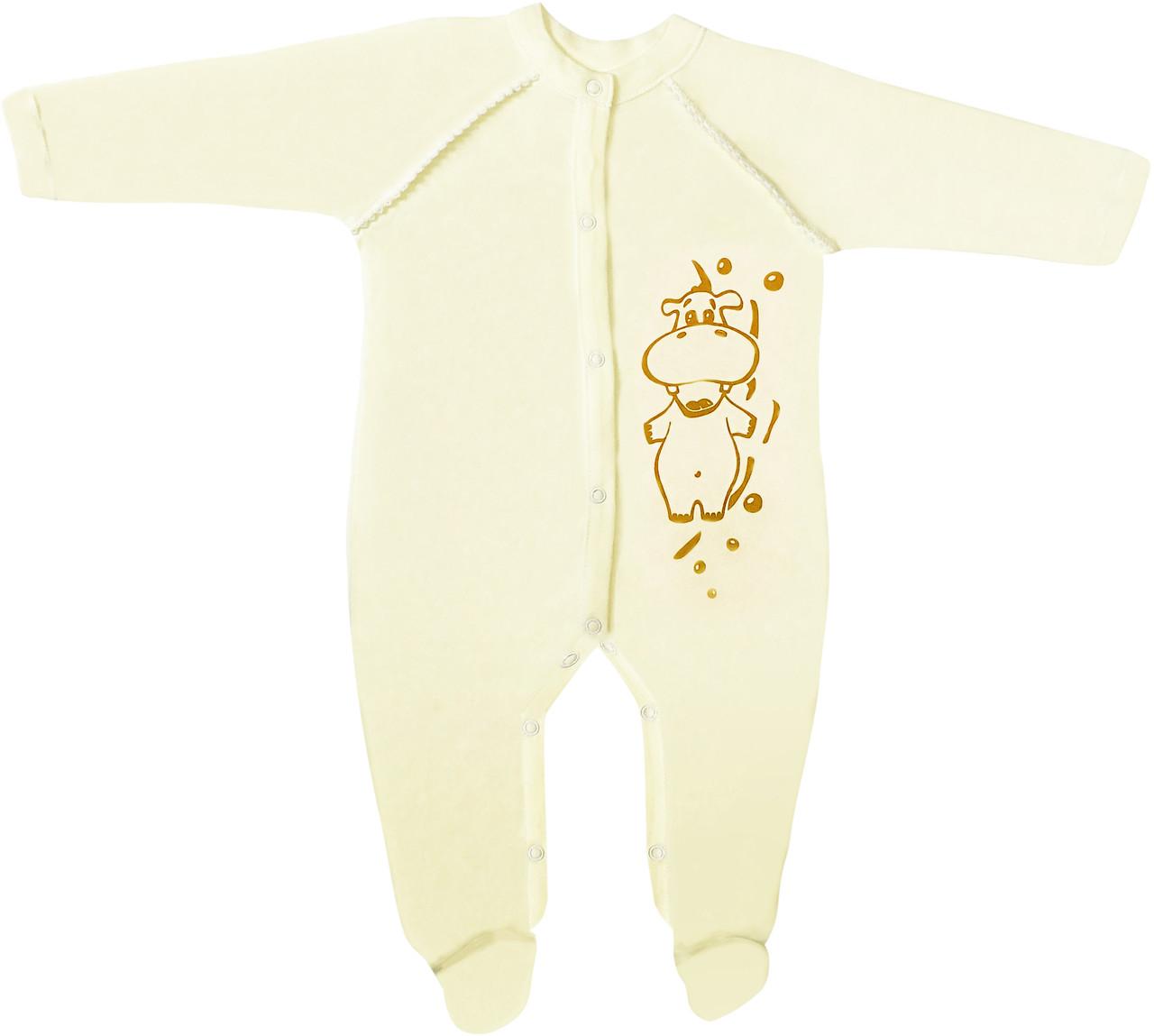 Детский человечек рост 74 6-9 мес трикотажный интерлок жёлтый на мальчика девочку слип для новорожденных малышей Ж463