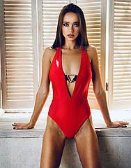 Купальник жіночий, суцільний, червоного кольору. ТМ Katty-Ko.