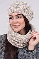 Нежно бежевый женский зимний комплект : шапка и шарф-хомут