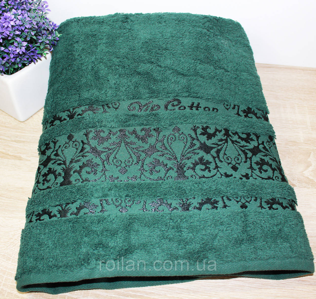 Махровое полотенце в сауну  Зеленый цвет