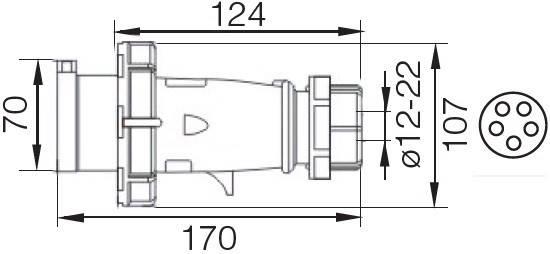 Вилка 0252 3Р+РЕ+N 32А 380В IP67 переносна TechnoSystems TNSy5502045, фото 2