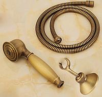 Душевой гарнитур STURM Classica: лейка, металлический шланг 150 см и держатель (античная латунь), фото 1