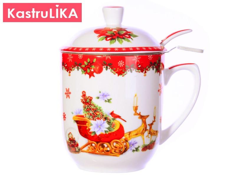 Новогодние сувениры посуда Новогодняя заварочная чашка 300мл