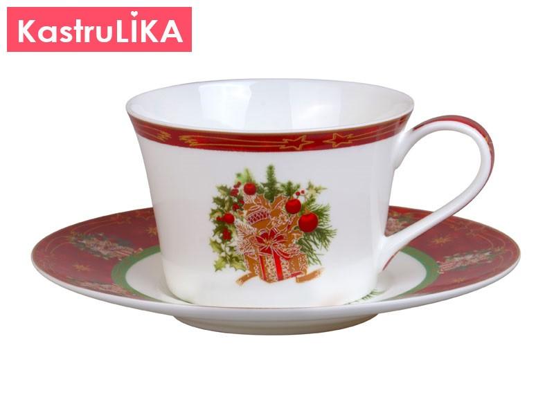 Чайная пара Рождественская коллекция Подарки красная 180мл/1персона