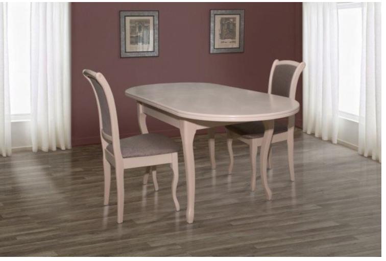 Стол обеденный, раздвижной, овальный из массива дерева -Твист (беж)