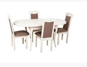 Кухонний білий комплект: стіл та 4 стільця -Твіст. Масив дерева.