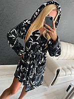 Женский теплый махровый домашний халат черный с красивым узором, фото 1