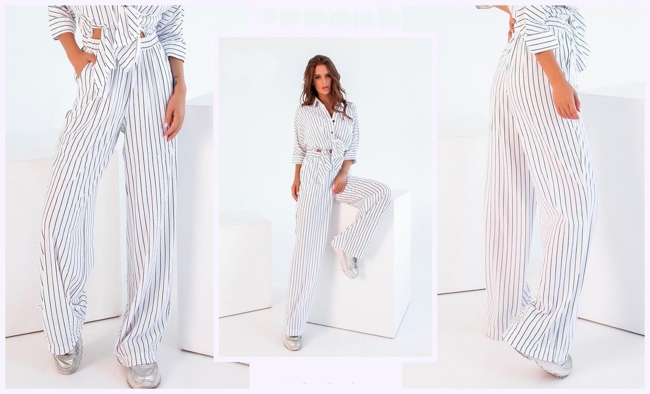 Женские брюки свободного кроя с завышенной талией S, M, L