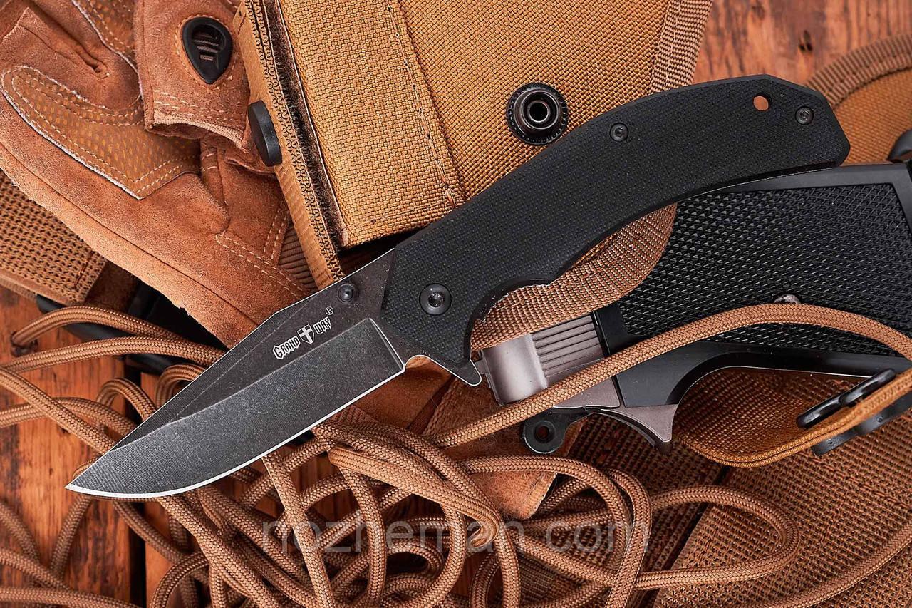 Карманный складной нож Ящер 4, оснащен клипсой и отверстием под темляк
