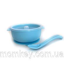 Тарелочка с крышкой+силиконовая ложка (светло-голубой)