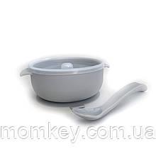 Тарелочка с крышкой+силиконовая ложка (светло-серый)