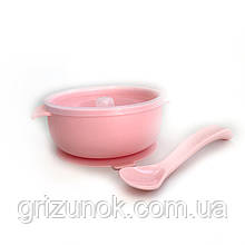 Тарелочка с крышкой+силиконовая ложка (розовый-кварц)