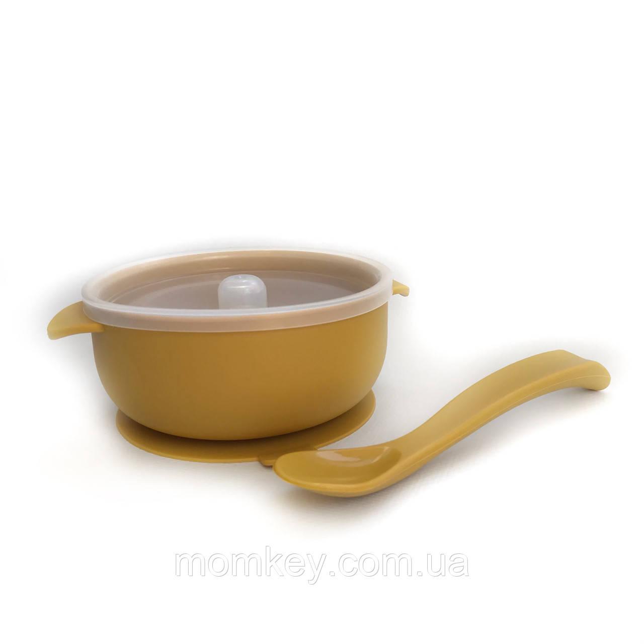 Тарелочка с крышкой+силиконовая ложка (горчичный)