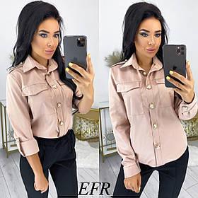 Женская рубашка из хлопка с золотыми пуговицами 50-566