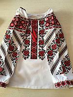 Вишиванка для дівчинки вишита машинною художньою вишивкою домоткане полотноріст 128