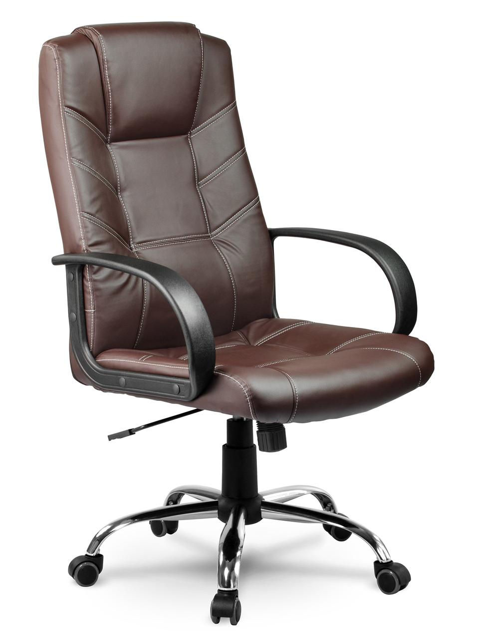 Кресло стул офисный кожаный Sofotel EG-221 коричневый