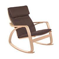 Кресло качалка COMODO Коричневое пользья дерево, фото 1