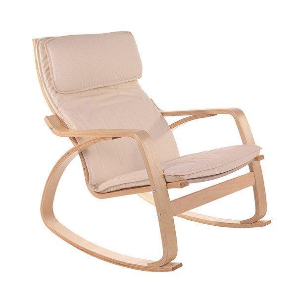 Кресло качалка COMODO Бежевое пользья дерево