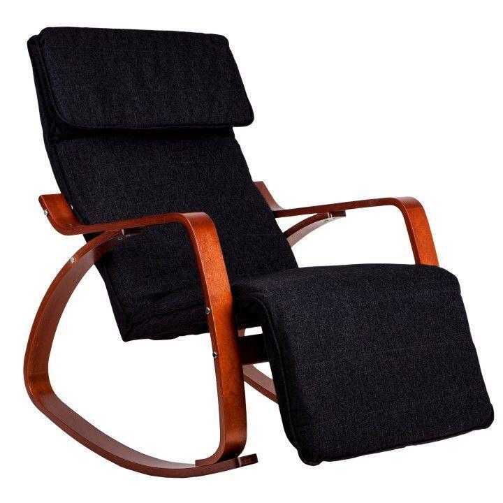 Кресло Качалка с подставкой деревянные лакерованые полозья орех Черная Goodhome TXRC-03 WALNUT