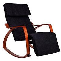 Кресло Качалка с подставкой деревянные лакерованые полозья орех Черная Goodhome TXRC-03 WALNUT, фото 1