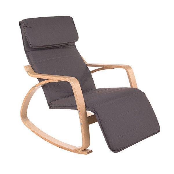 Кресло качалка LUSSO с подножкой Серое графит пользья дерево
