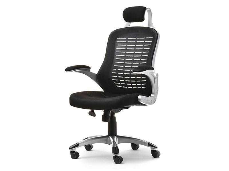 Кресло офисное для работы за компьютером LUPO WENTYLOWANY Z CZARNEJ TKANINY MESH I SREBRNEGO TWORZYWA