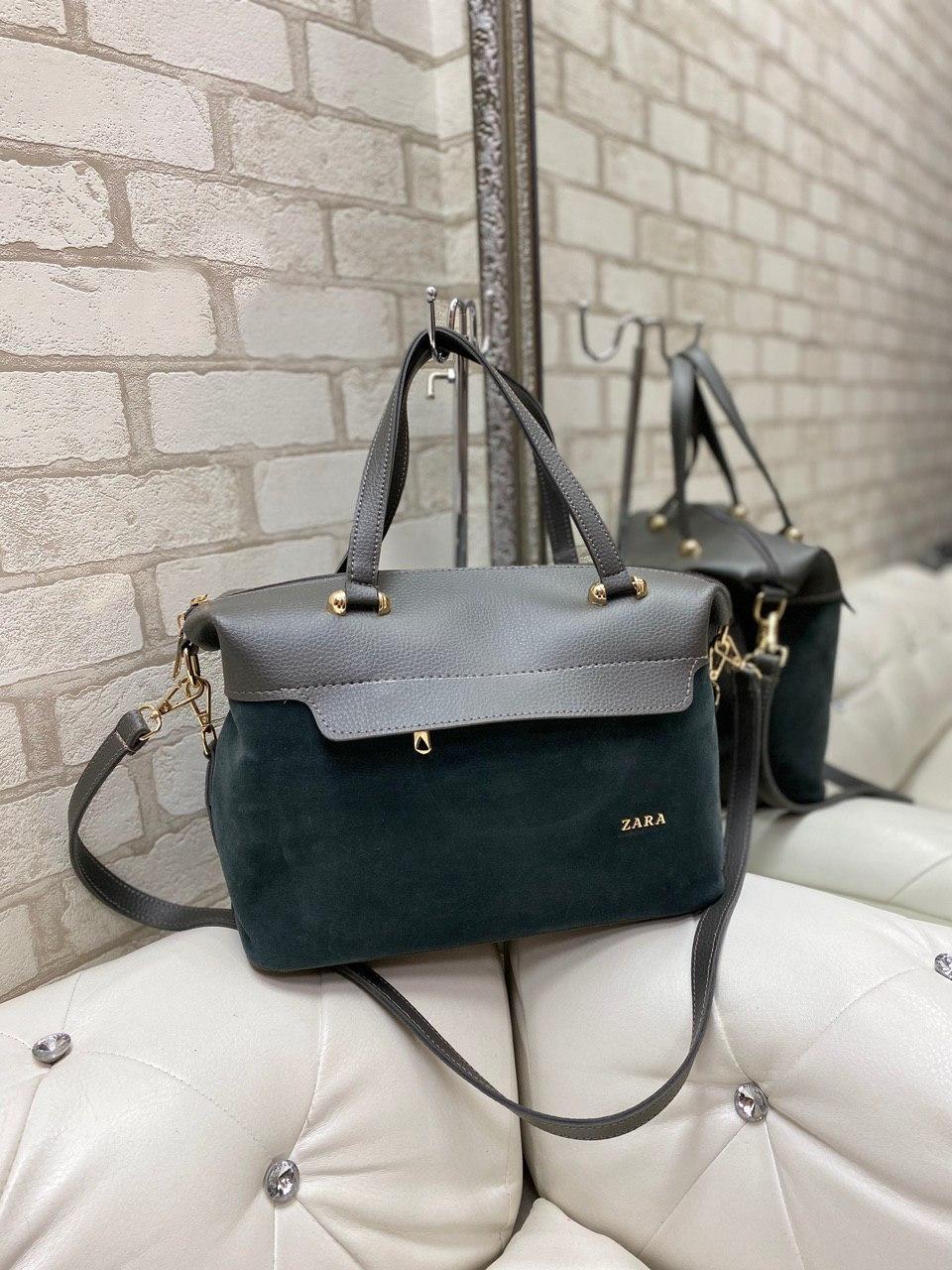 Большая замшевая женская сумка саквояж серая на плечо шоппер брендовая натуральная замша+кожзам