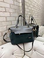 Большая замшевая женская сумка саквояж серая на плечо шоппер брендовая натуральная замша+кожзам, фото 1