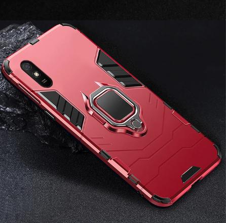 KEYSION Противоударный защитный чехол Xiaomi Redmi 9A с кольцом Цвет Красный