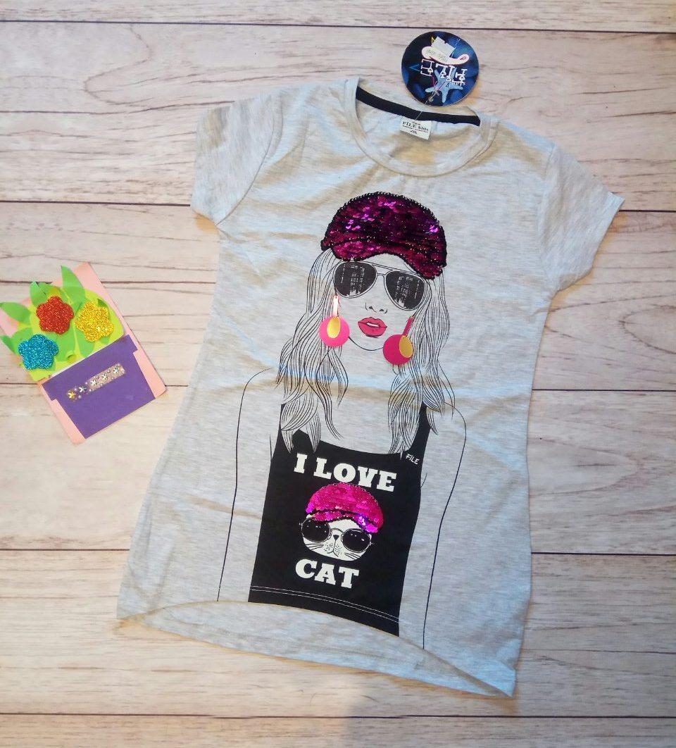Туника на девочку с пайетками, футболка Девушка и котик 128см Светло-серый меланж паетки